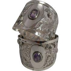 Fabulous Pair Antique English Sterling Silver Napkin Rings - Scottish Thistles…