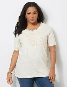 Seabreeze Crochet Tee: Light and breezy slub knit tee is ornate with its intricate crochet applique at the scoop neckline. Relaxed style features short sleeves and side slits at the hem. Comes in your choice of fresh, solid colors. Catherines tops are designed for the plus size woman to guarantee a flattering fit. catherines.com #catherines #plussizestyle #springinthemix