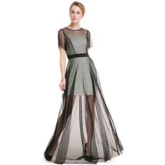 YJSFG HOUSE Fashion Elegant Women Hollow Out Lace Mesh Evening Party Dresses Sexy 2017 Summer O-neck Short Sleeve Long Maxi Robe