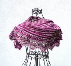 Lace Shawl handknitted bordeaux gray pink by MamiMadeIt on Etsy