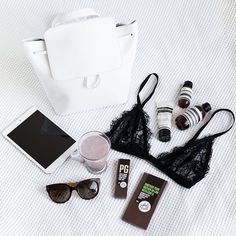 // black and white flatlay