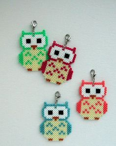 Owl pendant charm made out of Hama mini beads. by Alsterbead Perler Beads, Perler Bead Art, Fuse Beads, Owl Perler, Melty Bead Patterns, Pearler Bead Patterns, Perler Patterns, Beading Patterns, Hama Mini