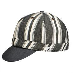 A truly unique style for spring and summer, the Denim Cycle Cap boasts a fashionable stripe pattern. This durable cap has a short flipped up brim as well as metal grommet ventilation holes, and snap button details. Cycling Hat, Hip Hop Costumes, Denim Hat, All In One, Hats, Pattern, Coachella Style, Mary Poppins