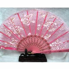 A Lot of 3 Pink Lace Rosette Wedding Bridal Ball Party Hand Fan Fans SKU-11213092