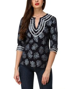 Another great find on #zulily! Blue & Gray Coral Top #zulilyfinds