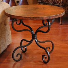 This in a high top for basement - Created by old world craftsmen, with centuries old metal working techniques, this copper table top has a hand hammered surface and a richly colored patina finish that is unique to each piece.  Our 30 ...