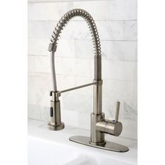 ... Modern Satin Nickel Spiral Pulldown Kitchen Faucet | Overstock.com