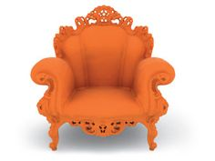 """The Magis Proust Armchair by Alessandro Mendini is based on his original Proust Chair for Studio Alchimia in called """"Poltrona di Proust"""". It's design was romantic and baroque on which an endless number of polychromatic points were p Milan Furniture, Art Furniture, Orange Furniture, Dream Furniture, Funky Furniture, Furniture Design, Chair One, Fondation Cartier, Wooden Decor"""