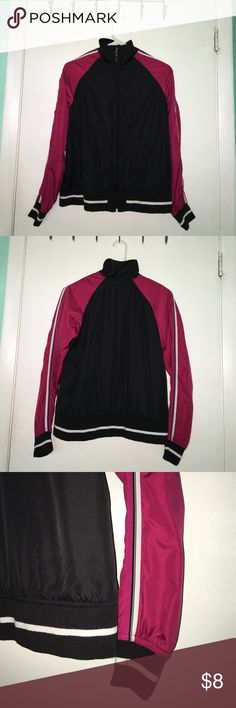 Athletic Works Small women's windbreaker Pink and black women's windbreaker with white stripes, great for the fall breezes! New without tags, great piece for day to day use! Athletic Works Jackets & Coats