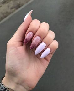 Pink French Nails Almond 33 New Ideas Hair And Nails, My Nails, Tapered Square Nails, Fire Nails, Shiny Nails, Dream Nails, Cute Acrylic Nails, Glitter Nails, Perfect Nails