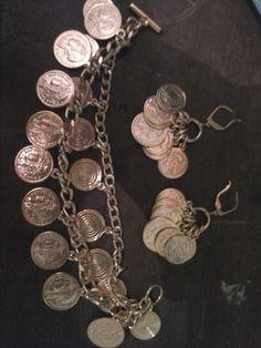 KIT <br>Pulseira de moedas dourada + Brinco de Moedas <br> <br>veste pulso de adulto 21cm <br>fecho ajustável