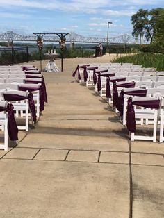 White garden chairs with plum satin side bows Central Illinois, White Gardens, Garden Chairs, Iowa, Wedding Designs, Wedding Ceremony, Wedding Decorations, Sidewalk, Events
