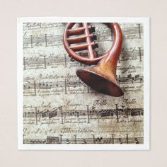 Horn ornament on music paper napkin - Xmas ChristmasEve Christmas Eve Christmas merry xmas family kids gifts holidays Santa