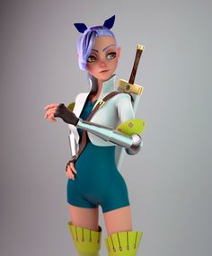 Practicing modeling with Modo, I did this fan art piece inspired in the anime The seven deadly sins (Nanatsu no Taizai). Zbrush Character, 3d Model Character, Character Design Girl, Character Design Animation, Character Modeling, Character Concept, Character Art, 3d Modeling, 3d Animation