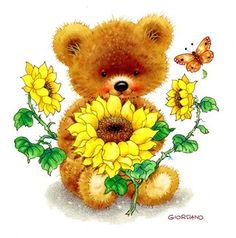 Bear with Sunflowers