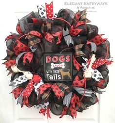 Dog wreath pet wreath dog lover wreath paw by ElegantEntryways Dog Lover Gifts, Dog Gifts, Wreath Crafts, Wreath Ideas, Burlap Crafts, Bone Crafts, Dog Wreath, Edible Arrangements, Deco Mesh Wreaths