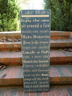 Lake house rules wood sign 12x36