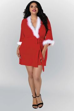 Plus Size Holiday Robe Playful and sexy, this holiday robe features a white marabou trim, length sleeves, a loose bodice, and a matching waist tie. Lingerie Outfits, Sexy Outfits, Sexy Lingerie, Plus Size Robes, Queen, Plus Size Lingerie, Colourful Outfits, Sexy Women, Dresses For Work