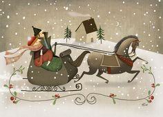 Pinzellades al món Merry Little Christmas, Vintage Christmas Cards, Christmas Images, Christmas Art, Vintage Cards, Xmas, Christmas Illustration, Children's Book Illustration, Winter Fun