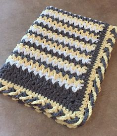 Crib Size Blanket Yellow/white/gray with crisscross edge. Super soft Bernat baby blanket yarn