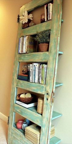 Old panel door turned into shelf. Oh, heck, yeah!