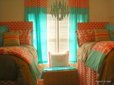 Custom dorm bedding packages from Cute dorm room bedding sets complete with throw pillows, duvet cover, bed skirt, headboard and more. Each dorm xl bedding set is a full dorm room look! Home Bedroom, Bedroom Decor, Bedroom Ideas, Bedding Decor, Blue Bedding, Teen Bedroom, Coral Bedroom, Bedroom Colors, Dorm Room Bedding