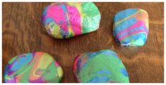 Kids Art with Rocks - Pour Painted Rocks