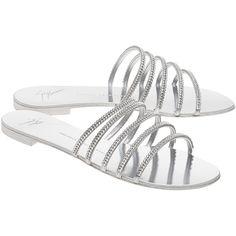 GIUSEPPE ZANOTTI Roll Piatto Metal Silver // Sandals with rhinestones (33.750 RUB) ❤ liked on Polyvore featuring shoes, sandals, giuseppe zanotti sandals, rhinestone flat sandals, silver embellished sandals, silver strappy sandals and flat strap sandals