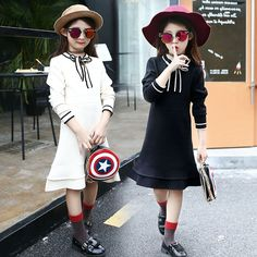 29.70$  Watch now - http://ali4dv.worldwells.pw/go.php?t=32749847227 - 5 6 7 8 9 10 11 12 13 Years Dresses For Girls Autumn Winter Wear Teenagers Sweater Dress School Wear Kids Dresses Big Sizes 29.70$