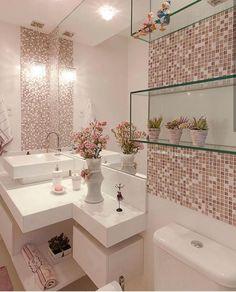Glass bathroom - 40 The Best Bathroom Glass Shelves Design Ideas Bathroom Design Small, Bathroom Interior Design, Interior Design Living Room, Interior Decorating, Kitchen Interior, Pink Home Decor, Glass Bathroom, Mosaic Bathroom, Bathroom Vanities