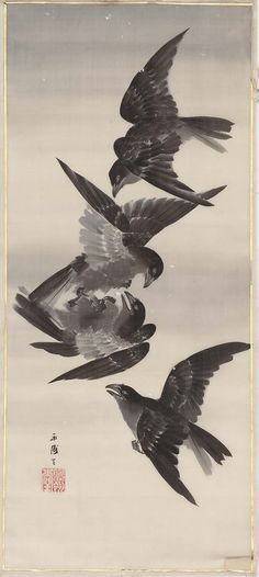 Crows on Wing.   Japanese Meiji era late 19th century.  Saida Eiho (Japanese, dates unknown)