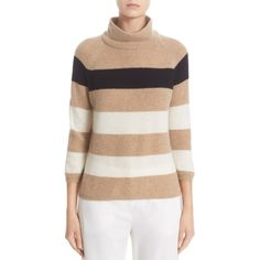 Women's Max Mara Stripe Cashmere Sweater (3.230 RON) ❤ liked on Polyvore featuring tops, sweaters, stripe sweaters, striped cashmere sweater, 3/4 sleeve sweaters, 3/4 length sleeve tops and wool cashmere sweater