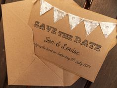 Save The Date Lace Bunting Wedding Invitation by FromLeoniWithLove