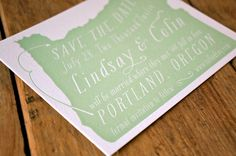 A letterpress save the date with state pride.
