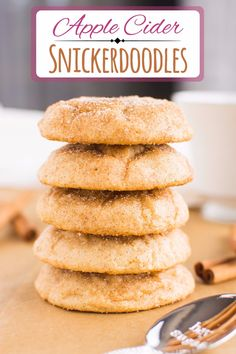 Apple Cider Snickerdoodles - A baJillian Recipes Apple Cider Snickerdoodles - A baJillian Recipes Apple Cider Cookies, Apple Cider Bar, Easy Cookie Recipes, Baking Recipes, Dessert Recipes, Cookie Ideas, Recipe Using Apple Cider, Just Desserts, Delicious Desserts