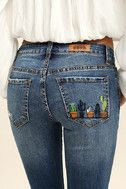 Cacti On You Medium Wash Embroidered Skinny Jeans 6
