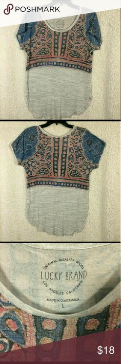 fa8c050051 Lucky Brand soft silver with patterns shirt size L Approx measurements  laying flat  Armpit to