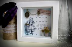 """Alice In Wonderland """"Read The Directions"""" 5x5 Box Frame. Antique Bronze Drink me…"""