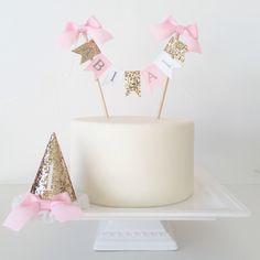 Cake Smash Photo Prop Set Cake Banner Birthday Hat - Gold Pink White by TheBirthdayStudio on Etsy https://www.etsy.com/listing/220663296/cake-smash-photo-prop-set-cake-banner