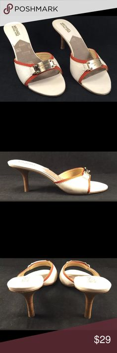 MICHAEL KORS Cream White Burnt Orange Sandals MICHAEL KORS Cream White Burnt Orange Sandals Heels Open Toe Plate Logo.  These are in very good preowned condition. Please see all photos and feel free to ask questions. Thanks for looking! Michael Kors Shoes