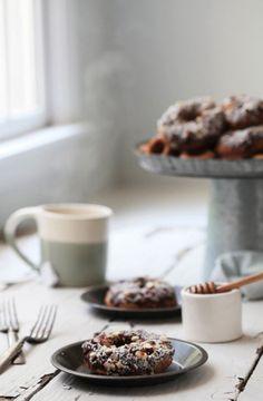 cinnamon roll almond flour donuts via folk & fest