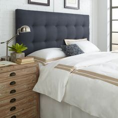 Danielle Queen/Full Upholstered Headboard in Midnight Blue