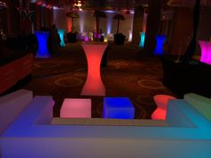 Lounge decorated with LED furniture .