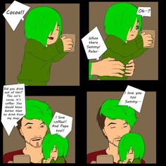 Sammy seems to love coffee and cocoa. Jack isn't mad that Sammy drank out of his coffee mug, he finds her adorable when she ge. Little Septic Love Mark And Ethan, Jack And Mark, Youtube Memes, Youtube Logo, Septiplier Fanfiction, Septiceye Sam, Septic Eye, Darkiplier, Pewdiepie
