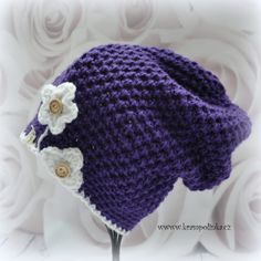 Dospělácká homeleska Tulip – Krampolínka Crochet Beanie, Crochet Hats, Romantic Flowers, Slouchy Beanie, Crochet Videos, Easy Crochet, Beanies, Mittens, Make It Yourself
