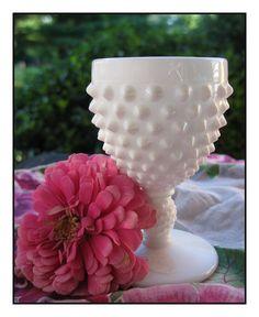 hobnail milk glass for wedding centerpiece
