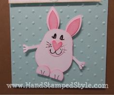 """Easter bunny card uses Owl punch, Petal Builder punch and 1/2"""" Circle punch."""
