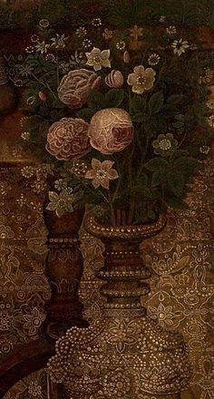Detail of a painting by Ismail Jalayir, c. 1880 Bunch Of Flowers, Detail, Illustration, Paintings, Art, Flower Wrap, Paint, Bouquets, Illustrations