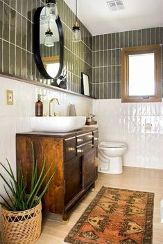 Bad Inspiration, Bathroom Inspiration, Bathroom Ideas, Bathroom Organization, Boho Bathroom, Bathroom Designs, Shower Ideas, Green Tile Bathrooms, Olive Green Bathrooms
