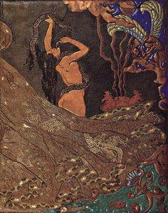 Salammbô de Gustave Flaubert (1862), reliure de Victor Prouvé (avec Camille Martin et René Wiener), 1893, cuir mosaïqué, incisé, pyrogravé, doré, émaux cloisonnés, Musée de l'Ecole de Nancy à Nancy (plat avant).
